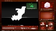 Congo, republic of (brazzaville) - computer monitor - red 0 Stock Footage