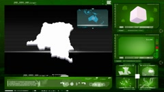 Stock Video Footage of democratic republic of the congo - computer monitor - green 0