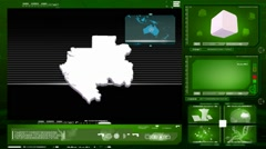 Gabon - computer monitor -  green 0 Stock Footage