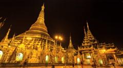 Time Lapse Beautiful Golden Shwedagon Pagoda Of Yangon Myanmar Stock Footage
