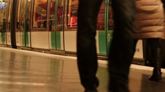 Trains and people in Paris subway Stock Footage