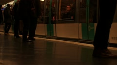 Metro in Paris slow motion of people and trains 1 Stock Footage
