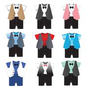Set of 9,Baby boy formal wear Wedding Party with bow tie ,Vector illustration Stock Illustration