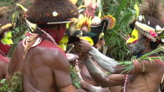Group of Papuan before traditional ritual in Papua New Guinea Stock Footage