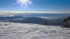 Skiers and snowboarders prepares to downhill Stock Footage