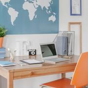 Stylish study space in boy teenager room - stock photo