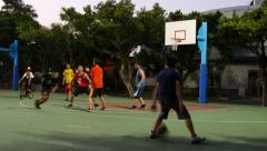 Basketball amateur game, boy make successful throw to basket net Stock Footage