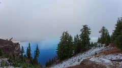 Clouds over the Crater lake Stock Footage