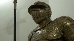View of a Roman armor in Fagaras fortress Stock Footage