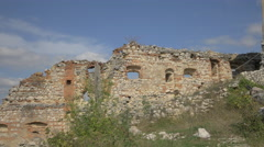 Old defence wall at Rasnov Citadel Stock Footage
