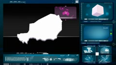 Niger - computer monitor - blue 0 Stock Footage