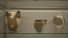 Three vases in the museum of Fagaras fortress - stock footage