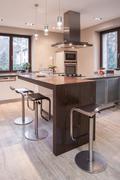 Stock Photo of Spacious stylish open kitchen