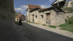 Old medieval house inside the Rasnov Citadel Stock Footage