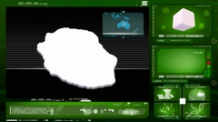 Reunion island - computer monitor - green 0 Stock Footage