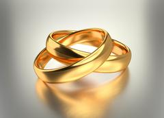 Stock Illustration of Heart with gold wedding rings