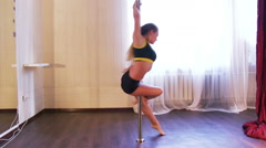 Girl Training Pole Dance Stock Footage