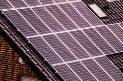Stock Photo of Green Renewable Energy with Photovoltaic Panels