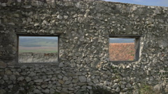 Windows on the Rasnov Citadel fortified wall Stock Footage