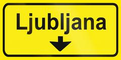 Stock Illustration of Slovenian road sign - Direction table to Ljubljana