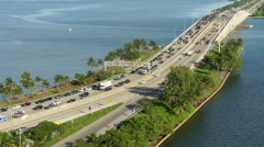 Busy Traffic Time Lapse in Miami to South Beach Stock Footage