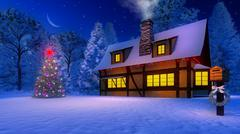 Christmas tree and rustic house at moonlight night - stock illustration