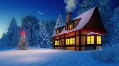 Illuminated rustic house and christmas tree at night - stock illustration
