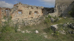 Ancient defence wall at Rasnov Citadel Stock Footage