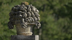 Stone basket with fruits at Peles Castle - stock footage