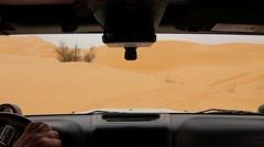 Camera car in the Sahara desert, driver pov. Stock Footage
