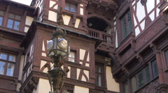 Vintage street lamp at the interior courtyard of Peles Castle Stock Footage