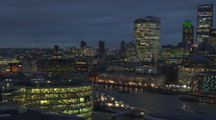 London City Skyline at night Stock Footage