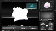 Ivory coast - computer monitor - black 0 Stock Footage