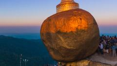 Time Lapse Sunrise Golden Rock Pagoda (Kyaikhtiyo Pagoda) Of Myanmar Stock Footage