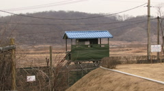 Observation building looking towards North Korea Stock Footage