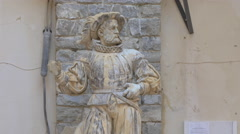 Stock Video Footage of Knight statue in the inner yard of Peles Castle