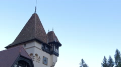 Side view of Pelisor Chateau on a sunny day Stock Footage
