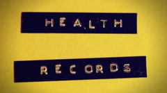 Health records label cg Stock Footage