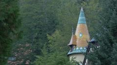 Mosaic roof on a building near Peles Castle Stock Footage