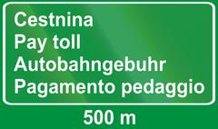 Slovenian road sign - Advance sign for toll. All the words mean pay toll, in  Stock Illustration