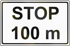 Slovenian road sign - Stop sign ahead after the distance shown Stock Illustration