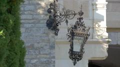 Vintage street lamp at Peles Castle Stock Footage