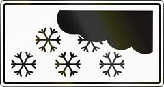 Slovenian road sign - Above sign valid during winter weather - stock illustration