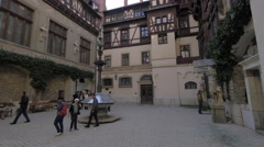 Visiting the interior courtyard of Peles Castle Stock Footage