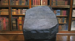 tilt down shot of a replica of the rosetta stone - stock footage
