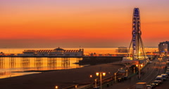 City of Brighton at Sunset,Day to Night Stock Footage