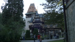 Tourists admiring the Pelisor Chateau Stock Footage