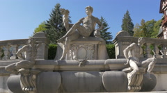 Statuary group at the fountain of Peles Castle Stock Footage