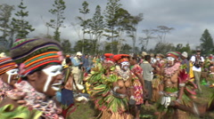 Group of Papuan people in tribal dance in PNG Stock Footage