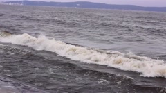 Winter stormy waves  on lake Stock Footage